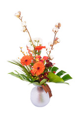 Big bouquet of orange gerberas in glass vase isolated on white.