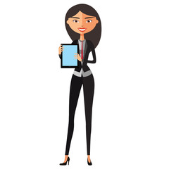 Asian businesswoman showing something important on the tablet vector cartoon illustration.