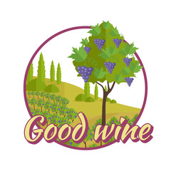 Good Wine Poster. Winemaking Concept Logo.