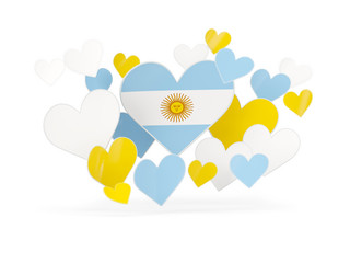Flag of argentina, heart shaped stickers