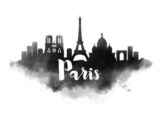 Watercolor Paris City Skyline