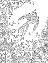 Coloring page with beautiful flying bird and floral background.