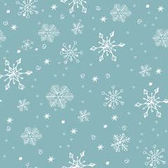 Seamless pattern with Hand Drawn snowflakes. Christmas And New Year background. Vector illustration.