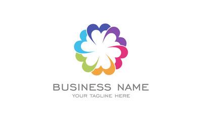 Flat Circle Logo , Flower logo, rainbow color, colorful logo