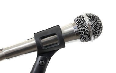 Silver microphone isolated on white background.Microphone isolat