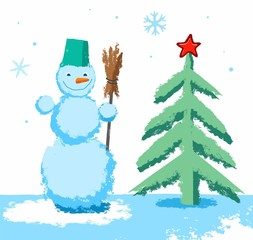 Snowman and Christmas tree, child's drawing, colored pencils. Color, vector image on white background. Drawn with crayons, simulation. On a green Christmas tree red star. Snowman with broom.