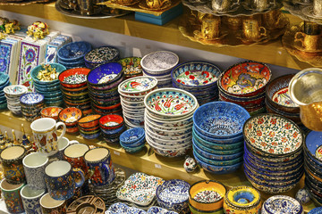 Colorful Turkish dishes in the Grand Bazaar of Istanbul, Turkey.
