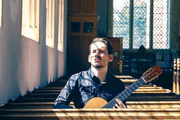 Male classical guitarist