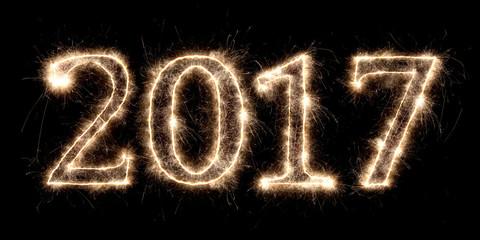 2017 fireworks happy new year spark numbers / funken sprühende Jahreszahl