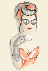 Beautiful woman with Eiffel tower mirror in her eyeglasses takes her morning cup of tea at Paris cafe, vector illustration