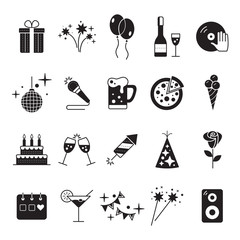 Celebration Icons and Party Icons with White Background.