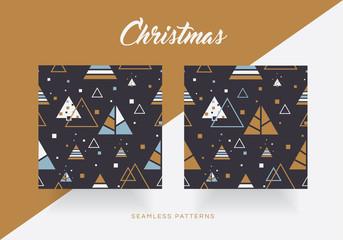 Modern Christmas seamless pattern set