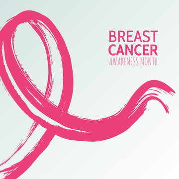 Vector watercolor hand drawn illustration of pink ribbon, breast cancer october awareness month. Abstract background for banner, poster, flyer design template.