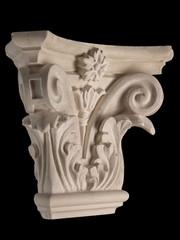 plaster capitellium, columns, pilasters, basrelief on a white background, gypsum
