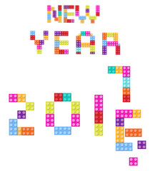 New Year background 2017 children s designer, style colored blocks
