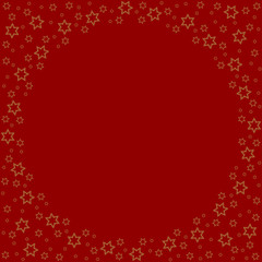 Repeating stars silhouette pattern on the red background. Border frame with space for text. Christmas and Happy New Year symbol concept vector illustration