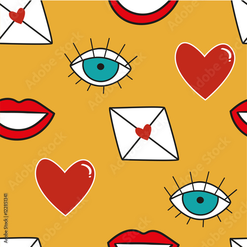 Seamless Pattern With Symbols In Cartoon Style Lips Eyes Heart