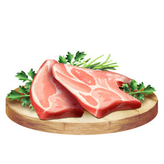 Fresh raw meat with herbs on a plate. Watercolor