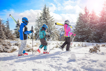 happy family ski team fun on beautiful mountain