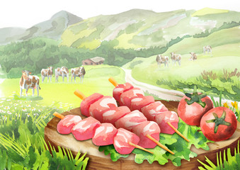 Raw beef on skewers for barbecue with lettuce and tomatoes on a plate in landscape with cows. Watercolor