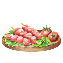 Raw beef on skewers for barbecue with lettuce and tomatoes on a plate. Watercolor
