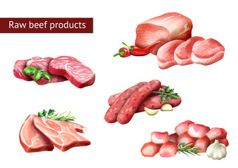 Raw beef products set. Watercolor