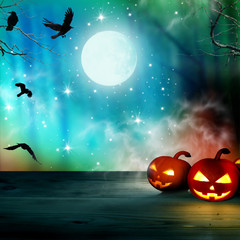 Halloween background .Night forest with full moon and pumpkins