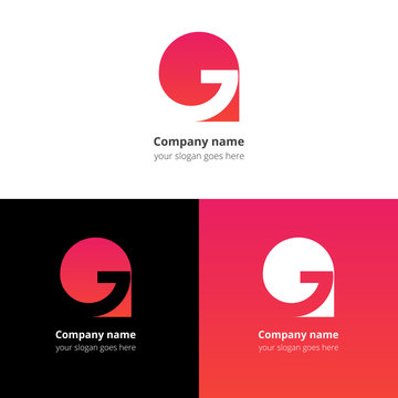 Letter G logo icon flat and vector design template. Trend red-pink gradient color on white and black background. Symbol G in vector elements..