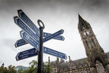 Landmarks signpost Manchester