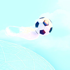 Concept or conceptual 3D soccer ball in with a blue sky backgrou