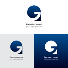 Letter G logo icon flat and vector design template. Trend dark blue gradient color on white and black background. Symbol G in vector elements.