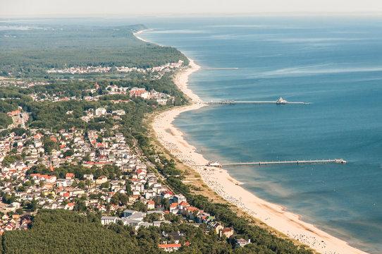 Luftaufnahme der 3 Kaiserbäder Ahlbeck, Heringsdorf & Bansin auf der Insel Usedom