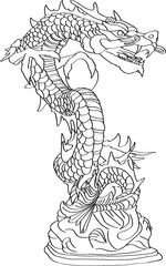 Chinese Style Dragon Statue Vector line Sketch Up, EPS 10.