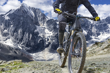 Adventure travel mountain biking great height Wall mural