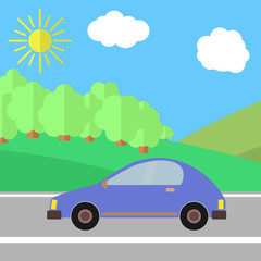 Blue Car on a Road on a Sunny Day. Summer Travel Illustration.