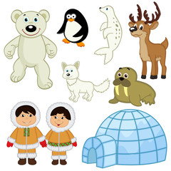 set of isolated  animals and people in the Arctic - vector illustration, eps