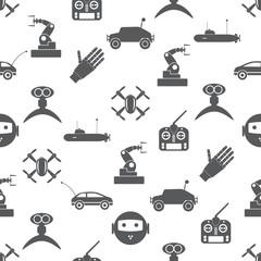 hi-tech modern technology toys simple icons seamless pattern eps10