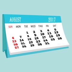 Calendar 2017 August page of a desktop calendar.3D Rendering.