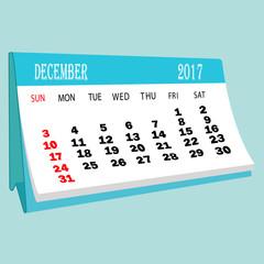 Calendar 2017 December page of a desktop calendar.3D