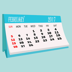 Calendar 2017 February page of a desktop calendar.3D Rendering.
