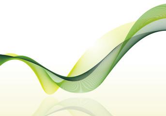 カラフルなラインアート 波線(グリーン)