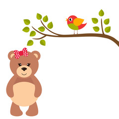 cartoon birds on a branch and teddy