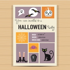 Halloween party invitation cards  background  with hand letterin
