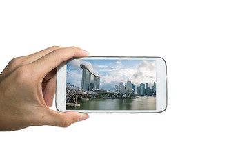Holding smart phone for capture, Take a photo of