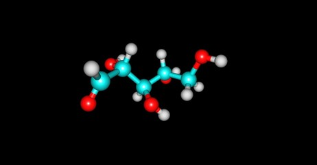 Ribose molecular structure isolated on black