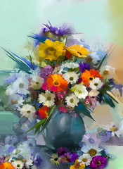 Oil painting flowers in vase. Hand paint still life bouquet of White,Yellow and Orange Sunflower, Gerbera, Daisy flowers. Vintage flowers painting in soft green and blue color background