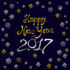 Happy new year card. Gold template over black background with golden sparks. Happy new year 2017. Template for your design. Vector illustration.
