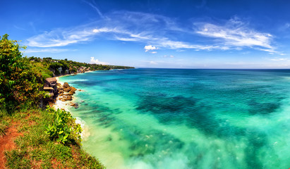 Panoramic sea view with picturesque beach. Dreamland beach, Bali, Indonesia