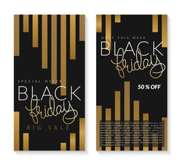 vector illustration of two black friday banners with hand lettering golden word - friday on golden striped background. big sale advertising