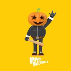Rock n roll Happy halloween vector greeting card